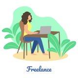 Ewidencyjny plakat z słowo Freelance kreskówką royalty ilustracja