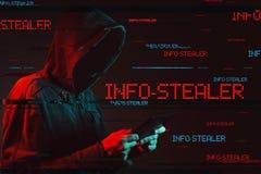 Ewidencyjny stealer pojęcie z beztwarzową kapturzastą męską osobą zdjęcia stock