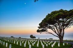 Ewige Ansicht des Pazifiks von Rosecrans-nationalem Friedhof lizenzfreies stockbild