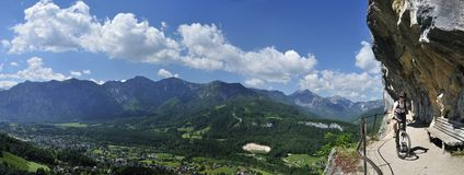 Ewige Wand Mountainbiking. The view on surroundings of Salzkammergut mountains during biking through Ewige Wand in Austria royalty free stock photos