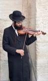 Ewish hasidic play violin. JERUSALEM ISRAEL 26 10 16: Jewish hasidic play violin near the Tower of David Hasidism is religious sect arose as a spiritual movement stock image