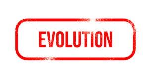 Ewolucja - czerwona grunge guma, znaczek ilustracji