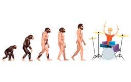 Ewolucja dobosz na białym tle ilustracji