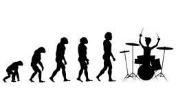 Ewolucja dobosza sylwetka na białym tle ilustracji