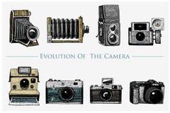Ewolucja fotografia, wideo, film, film kamera od najpierw do rocznika teraz, grawerował rękę rysującą w nakreślenia lub drewna ci ilustracja wektor