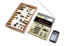 Ewolucja kalkulacyjny abakusa rocznika kalkulator i nowożytni dziąsła Obraz Stock