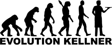 Ewolucja kelner z niemieckim stanowiskiem ilustracji