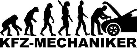 Ewolucja motorowy mechanik z samochodem Niemiecki stanowisko royalty ilustracja