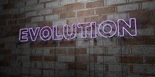 EWOLUCJA - Rozjarzony Neonowy znak na kamieniarki ścianie - 3D odpłacająca się królewskości bezpłatna akcyjna ilustracja ilustracji