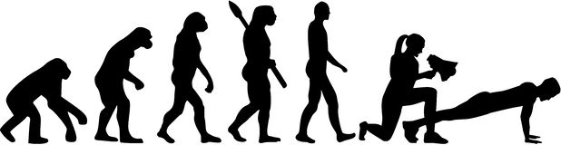 Ewolucja z żeńskim sprawność fizyczna trenerem royalty ilustracja