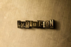 EWOLUCJA - zakończenie grungy rocznik typeset słowo na metalu tle royalty ilustracja