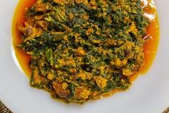Ewuro oder bitterleaf Egusi-Suppe teilten in einem Teller lizenzfreies stockbild