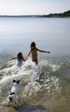 Exécutez dans la mer Photos stock