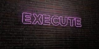 EXÉCUTEZ - enseigne au néon réaliste sur le fond de mur de briques - l'image courante gratuite de redevance rendue par 3D illustration de vecteur