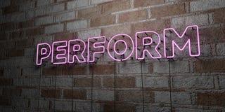 EXÉCUTEZ - Enseigne au néon rougeoyant sur le mur de maçonnerie - 3D a rendu l'illustration courante gratuite de redevance illustration libre de droits