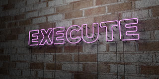 EXÉCUTEZ - Enseigne au néon rougeoyant sur le mur de maçonnerie - 3D a rendu l'illustration courante gratuite de redevance illustration stock