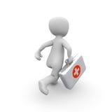 Exécutez le rouge avec la caisse blanche d'aide Images stock