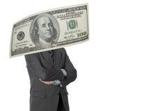 Exécutif financier avec le billet d'un dollar d'isolement sur le blanc Images stock