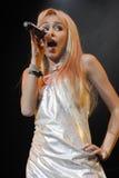 Exécution de Miley Cyrus sous tension Image stock