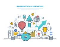 Exécution des innovations Introduction des technologies innovatrices, progrès scientifique et technique illustration libre de droits
