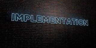 EXÉCUTION - enseigne au néon réaliste sur le fond de mur de briques - image courante gratuite de redevance rendue par 3D illustration de vecteur