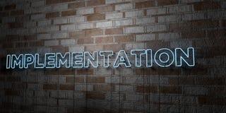 EXÉCUTION - Enseigne au néon rougeoyant sur le mur de maçonnerie - 3D a rendu l'illustration courante gratuite de redevance illustration libre de droits