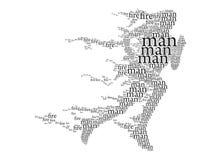 Exécution, homme ardent, b et W - calligraphie et texte. illustration de vecteur