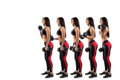 Exécution sur un biceps avec des haltères image stock