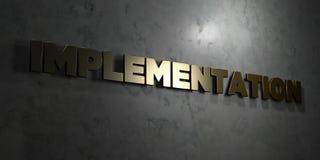 Exécution - texte d'or sur le fond noir - photo courante gratuite de redevance rendue par 3D illustration stock