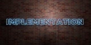 EXÉCUTION - tube au néon fluorescent connectez-vous la brique - vue de face - photo courante gratuite de redevance rendue par 3D illustration libre de droits