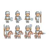 Exército da arte do pixel dos cavaleiros e dos cavaleiro Fotografia de Stock Royalty Free