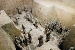 Exército da terracota no mausoléu de primeiro Qin Emperor em Xian, China fotografia de stock