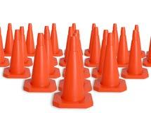 Exército de cones do tráfego Fotografia de Stock Royalty Free