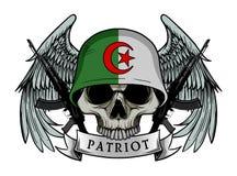 Exército do crânio que veste o capacete da bandeira de ARGÉLIA Fotografia de Stock