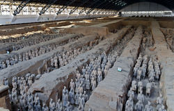 Exército do guerreiro da terracota do imperador Qin Shi Huang Di Fotos de Stock