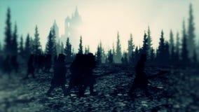 Exército medieval e cavaleiros que marcham em uma floresta em um dia nevoento