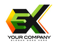 EX 3D Logo. Illustration drawing representing a construction logo made out of E and X letters with a roof on the top Stock Image