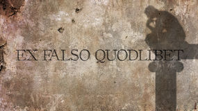 Ex falso quodlibet. From false premises one can prove anything. Ex falso quodlibet. A Latin phrase meaning From false premises one can prove anything Royalty Free Stock Photography