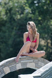 Ex Grecki piękna widowiska zwycięzca w bikini Zdjęcie Stock