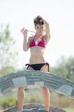 beauty pageant winner in bikini Royalty Free Stock Photo