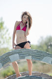 beauty pageant winner in bikini Royalty Free Stock Images