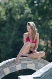 Ex griechischer Schönheitswettbewerbsieger im Bikini Stockfoto