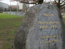 Ex Jugosławia wojenny pomnik przed UN biurem przy Genewa Obrazy Stock
