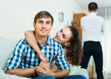 Ex-lover watching girlfriend leaving him Stock Photography