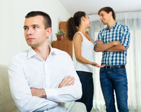 Ex-lover watching girlfriend leaving him Stock Images