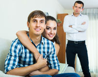 Ex-lover watching girlfriend leaving him Stock Photo