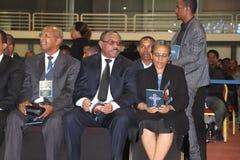EX PM Hailemariam Desalegn e la sua moglie Roman Tesfaye che assiste al funerale dell'ex presidente, Negasso Gidada fotografia stock libera da diritti