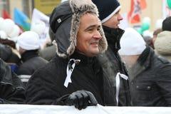 Ex-political prisoner, journalist Irek Murtazin at. Moscow, Russia - February 4, 2012. Ex-political prisoner journalist Irek Murtazin at the rally for fair Stock Photo