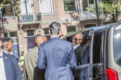 Ex presidente Obama che lascia all'hotel di Amstel a Amsterdam il 29-9-2018 olandese fotografia stock libera da diritti