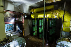 Ex Soviet cold war bunker. All pictures made in low light conditions without any light from outside. Only light was two portable flashlights. Some texts is in Stock Images